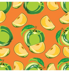 Seamless pattern of green apple vector
