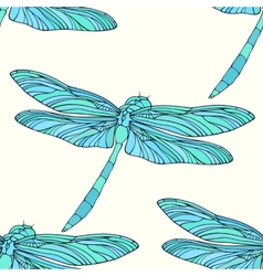 Seamless pattern with hand drawn dragonflies vector