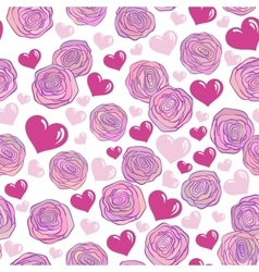 Seamless pattern with pink roses hearts on white vector image