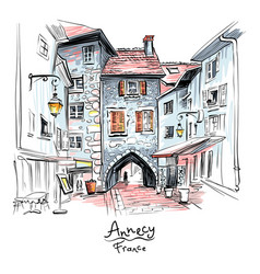 Sepulchre gate in old town of annecy france vector