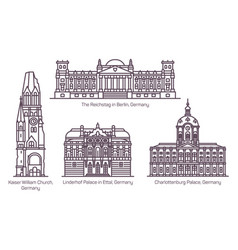 set isolated german buildings in thin line vector image