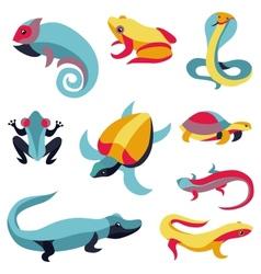 Set logo design elements - reptiles vector