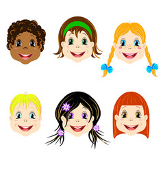 set of children heads with different types vector image