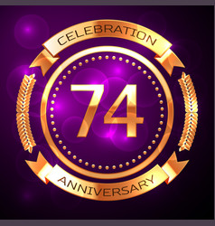 seventy four years anniversary celebration with vector image
