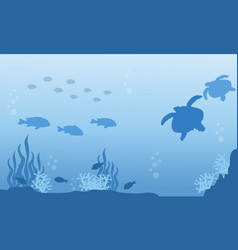 Silhouette of fish and turtle underwater landscape vector