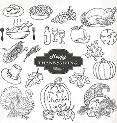 Sketch doodle Thanksgiving icon set Hand draw vector image