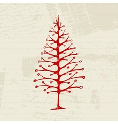 Sketch of christmas pine on sheet for your design vector