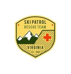 Ski Patrol Label Retro Mountain winter sports vector