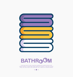 Stack of towels thin line icon vector