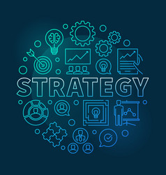 Strategy round blue outline vector