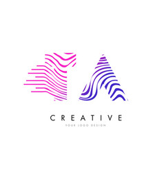 Ta t a zebra lines letter logo design with vector