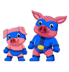 Two pig in a superhero costume vector
