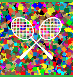 two tennis racket sign white icon on vector image