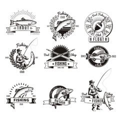 Vintage fishing labels set vector