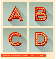 Vintage light bulb sign letters a b c d vector