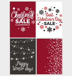 Winter holidays set posters vector