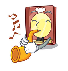 with trumpet recipe book in the cartoon shape vector image