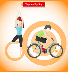 Yoga and cycling sport concept design vector
