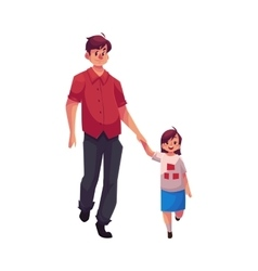 Young dad holding his little daughter hand and vector image