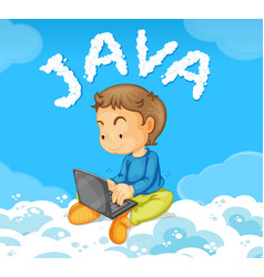 young man coding java on cloud vector image