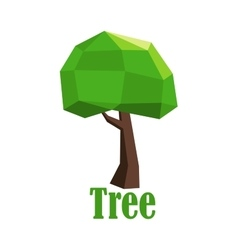 Abstract polygonal tree icon with green crown vector