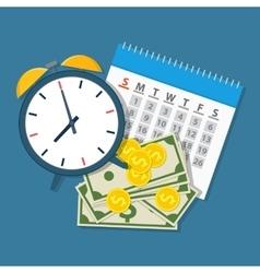 Alarm clock calendar money vector image vector image