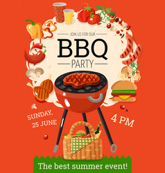 bbq barbecue party announcement poster vector image vector image