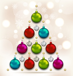 Christmas tree made of baubles glowing background vector image vector image
