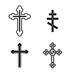 cross icon set simple style vector image