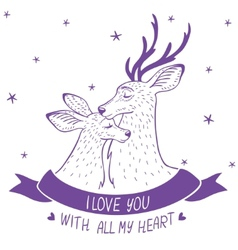 Deer couple silhouette vector image vector image