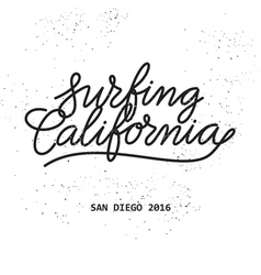 surfing california lettering vector image vector image