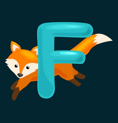 animals alphabet for kids fish letter f cartoon vector image