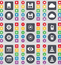 Battery Floppy Cloud Gear Back Mobile phone vector image vector image