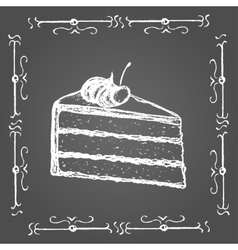 Chalk piece of cake with cream and cherry on top vector image vector image