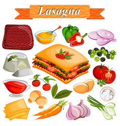 food and spice ingredient for lasagana vector image vector image