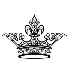 hand drawn crown vintage engraved vector image