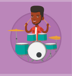 man playing on drum kit vector image