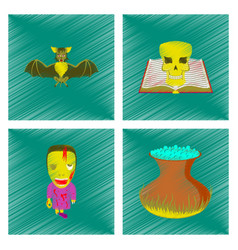 assembly flat shading style icon spider bat book vector image