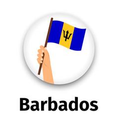 barbados flag in hand round icon vector image vector image
