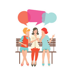 Cartoon character of women with colorful dialog vector