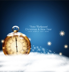 Christmas background with old clocks snow snowflak vector image vector image