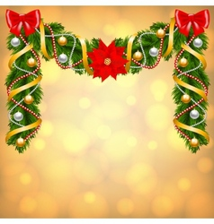 Christmas card with fir-tree decoration vector image vector image