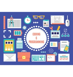 Concept of coding and programming with equipment vector image vector image