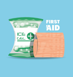 first aid ice gel and gauze medicine tools vector image vector image