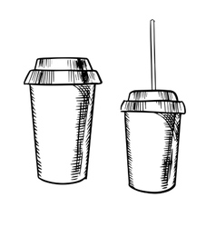 Takeaway coffee and soda drinks sketches vector image vector image