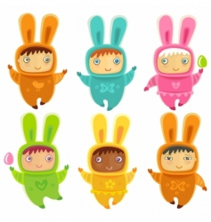 a cute little babies bunnies vector image vector image