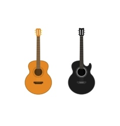 Acoustic guitars set isolated on white vector image