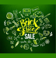 back to school sale in doodle frame vector image vector image