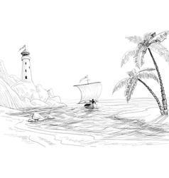 Beach sea and boat sketch vector image vector image