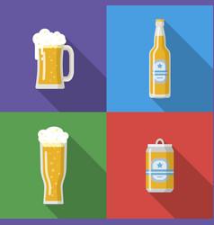 beer mug glass bottle beer can vector image